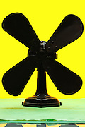 antique fan object on yellow green background