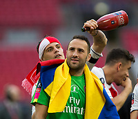 Arsenal's David Ospina is about to get soaked in champagne  <br /> <br /> <br /> Photographer Craig Mercer/CameraSport<br /> <br /> The Emirates FA Cup Final - Arsenal v Chelsea - Saturday 27th May 2017 - Wembley Stadium - London<br />  <br /> World Copyright © 2017 CameraSport. All rights reserved. 43 Linden Ave. Countesthorpe. Leicester. England. LE8 5PG - Tel: +44 (0) 116 277 4147 - admin@camerasport.com - www.camerasport.com