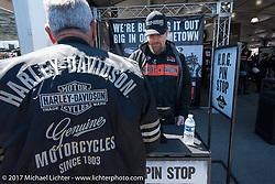 Harley-Davidson's Lou Evanitus of York PA working the HOG Pin Stop display during Daytona Bike Week. Daytona Beach, FL. USA. Wednesday March 15, 2017. Photography ©2017 Michael Lichter.