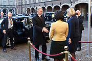 Staatsbezoek aan Nederland van Zijne Majesteit Koning Filip der Belgen vergezeld door Hare Majesteit Koningin <br /> Mathilde aan Nederland.<br /> <br /> State Visit to the Netherlands of His Majesty King of the Belgians Filip accompanied by Her Majesty Queen<br /> Mathilde Netherlands<br /> <br /> op de foto / On the photo:  De Belgische Koning Filip ontmoet Ankie Broekers, voorzitter van de Eerste Kamer, en Khdija Arib, voorzitter van de Tweede Kamer /// The Belgian King Philip met Angie Broekers, President of the Senate, and Khdija Arib, chairman of the Parlement