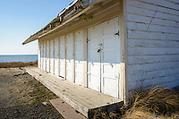 Storage sheds on the beach at Cape May Point, New Jersey.