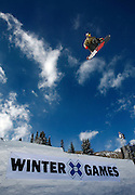 SHOT 1/25/08 12:12:33 PM - Norwegian snowboarder Andreas Wiig from Oslo gets airborne over a gap jump during a practice session for the Snowboard Slopestyle qualifying Friday January 25, 2008 at Winter X Games Twelve in Aspen, Co. at Buttermilk Mountain. Wiig qualified for the event and went on to win with a score of 92.00, beating out U.S. riders Kevin Pearce (88.33) and Shaun White (83.33). It was the second year in a row Wiig has won gold in the event. The 12th annual winter action sports competition features athletes from across the globe competing for medals and prize money is skiing, snowboarding and snowmobile. Numerous events were broadcast live and seen in more than 120 countries. The event will remain in Aspen, Co. through 2010..(Photo by Marc Piscotty / WpN © 2008)