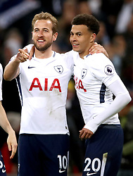 Tottenham Hotspur's Harry Kane (left) celebrates scoring his side's second goal of the game with team mate Dele Alli
