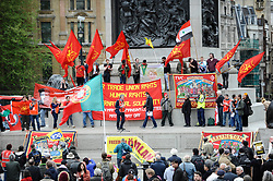 © Licensed to London News Pictures. 01/05/2018. LONDON, UK.  Demonstrators take part in the annual May Day Rally on International Workers' Day, having marched through central London to a rally in Trafalgar Square.  Photo credit: Stephen Chung/LNP