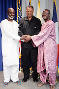 September 19, 2012- Queens, New York:  (L-R) Former Prisoner Tamsir Jasseh, Rev. Jesse Jackson, The Rainbow PUSH Coalition and Former Prisoner Amadou Scattred Janneh pose for photographs as free men after being held as prisoners in the Gambia, West Africa. Former Prisoner Amadou Scattred Janneh, a former Professor at the University of Tennessee, who held dual US Citizenship with the Gambia, was serving a life sentence for Treason. In addition to him, Tamsir Jessah, a U.S Citizen and former U.S. Military Veteran with dual citizenship with the West African nation was also serving a twenty-year sentence for Treason. With a face-to-face appeal by Rev. Jesse L. Jackson, with the Yayha Jammeh, President of The Gambia an agreement was made to release the two American citizens into Rev. Jackson's custody who allow them to return to the United States with Jackson Tuesday night.  The two men returned to the U.S. by plane with Rev. Jackson from The Gambia to joyfully grateful waiting family members. In addition, President Jammeh has agreed to extend the moritorium on executions indefinitely, marking a significant gain for Human Rights in the West African Nation on September 19, 2012. (Terrence Jennings)