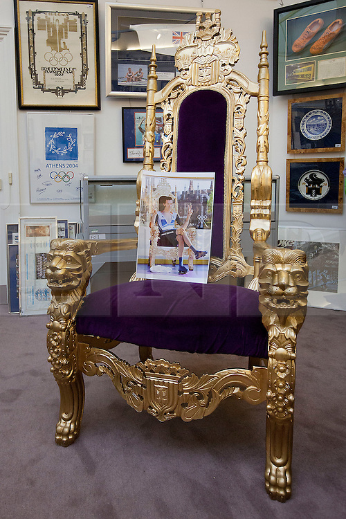 © Licensed to London News Pictures. 06/11/2012. London, UK. The throne in which gold medal winning cyclist Bradley Wiggin sat after winning the men's cycling time trial during the 2012 London Olympic Games is seen at Sotheby's Grosvenor Galleries in London after failing to meet its reserve at a sporting memorabilia auction today (06/11/12).  The auction, held at Sotheby's New Bond Street Auction House, saw a reserve of GB£10,000 reserve placed on the chair which was estimated to fetch GB£10,000-15,000 although the throne only commanded a highest bid of GB£9,500.  Photo credit: Matt Cetti-Roberts/LNP