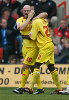 Photo: Steve Bond/Richard Lane Photography. <br />Nottingham Forest v Walsall. Coca Cola League One. 15/03/2008. Tommy Mooney (L) and Edrissa Sonko (R) celebrate the equaliser