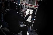 NEW YORK  2020V10<br /> Gatukonstnär som mlåar porträtt vid Times Square.<br /> <br /> Foto: Per Danielsson/Projekt.P