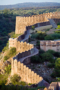 Ramparts around the Nahargarh Fort, Jaipur, India<br /> The fort, built originally in 1734 by Maharaja Sawai Jai Singh II forms a defensive line above and around the city. Orginally called Sudarshangarh, it gradually became known as Nahargarh or 'abode of tigers'