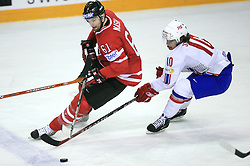 Rick Nash of Canada and Lars Erik Spets of Norway at play-off round quarterfinals ice-hockey game Norway vs Canada at IIHF WC 2008 in Halifax,  on May 14, 2008 in Metro Center, Halifax, Nova Scotia,Canada. (Photo by Vid Ponikvar / Sportal Images)