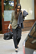 Sept. 19, 2014 - New York, New York, U.S. -<br /> <br />  Actress DEMI MOORE reveals her bra through a sheer top as she leaves a downtown hotel in New York City <br /> ©Exclusivepix