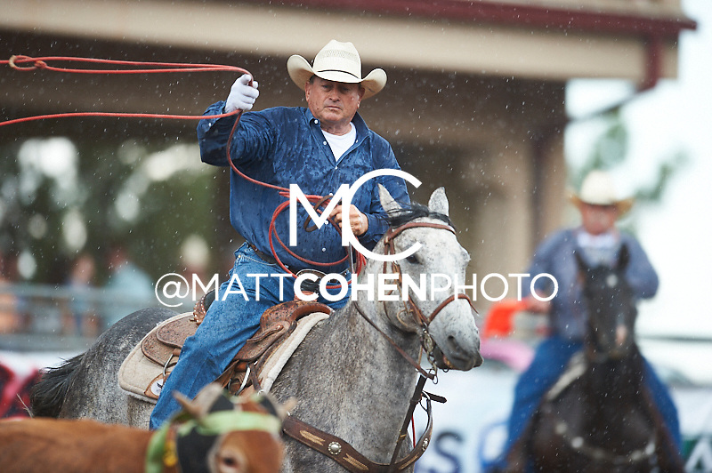 Team roper Jim Nichols of Morristown, AZ competes at the Pikes Peak or Bust Rodeo in Colorado Springs, CO.<br /> <br /> <br /> UNEDITED LOW-RES PREVIEW<br /> <br /> <br /> File shown may be an unedited low resolution version used as a proof only. All prints are 100% guaranteed for quality. Sizes 8x10+ come with a version for personal social media. I am currently not selling downloads for commercial/brand use.