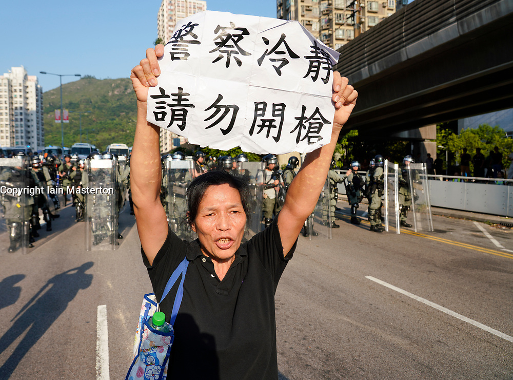 Tuen Mun, Hong Kong. 22 September 2019. Pro democracy demonstration and march through Tuen Mun in Hong Kong. Marchers protesting against harassment by sections of the pro Beijing community. Largely peaceful march had several violent incidents with police using teargas. Several arrests were made.  Iain Masterton Live News.