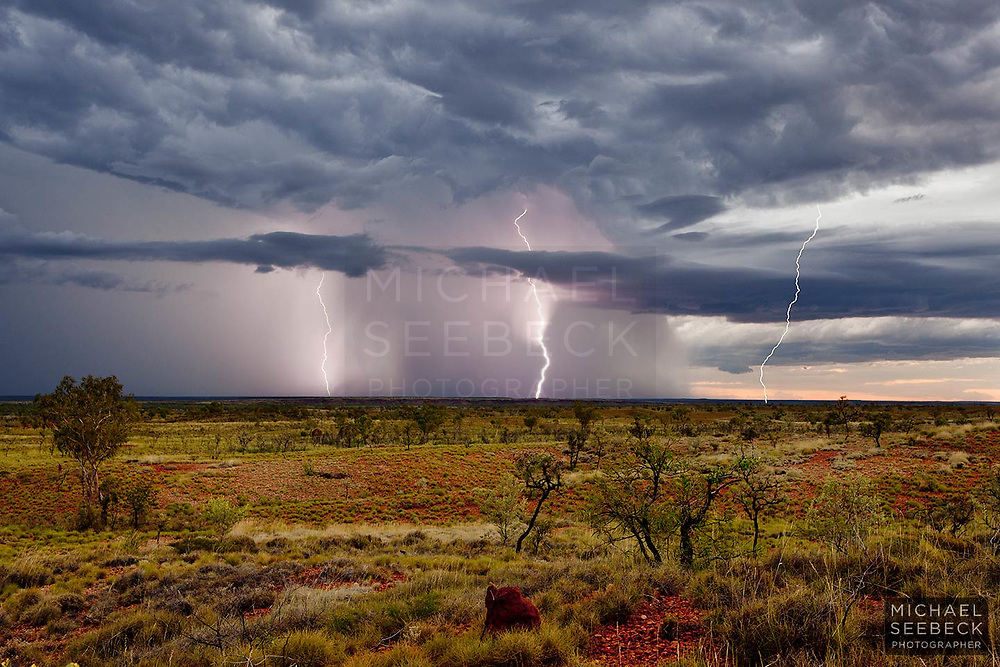 A photograph of a thunderstorm over the Tanami Desert, just south of the Kimberleys, Western Australia.<br /> <br /> Limited Edition of 125