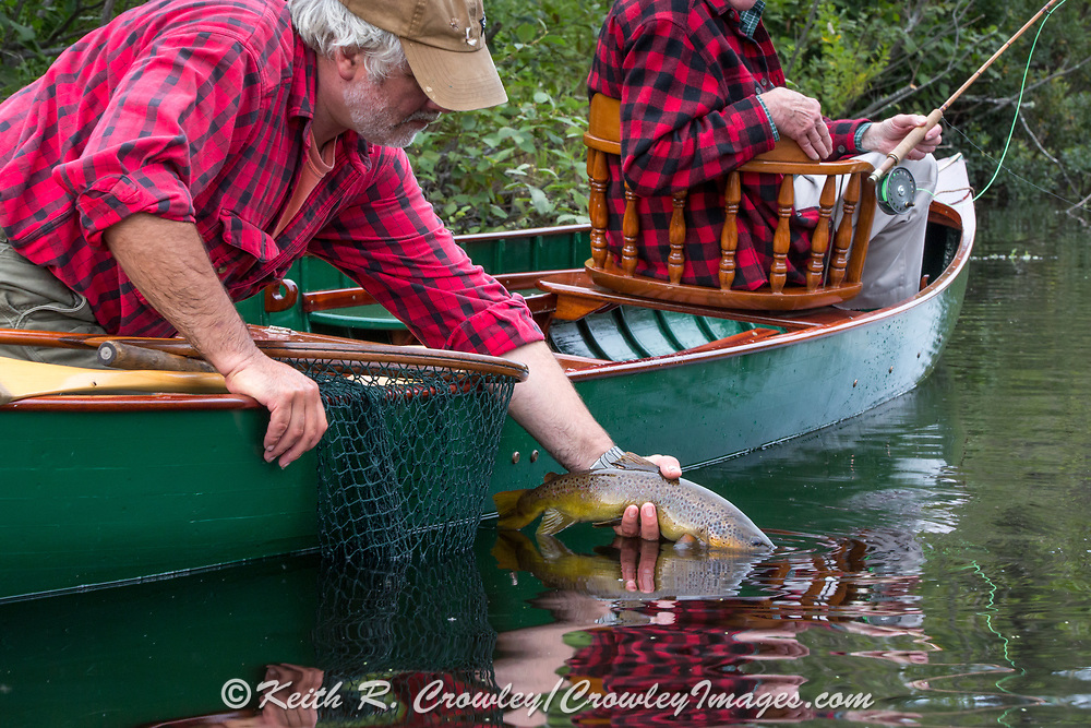 Brule River Guide Damian Wilmot releases a nice brown trout caught by angler Matson Holbrook while fishing from  a 1895 Lucius guide canoe restored by Wilmot.
