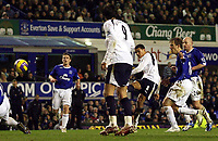 Photo: Paul Thomas.<br /> Everton v Tottenham Hotspur. The Barclays Premiership. 21/02/2007.<br /> <br /> Jermaine Jenas (8) scores for Tottenham.