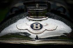 © Licensed to London News Pictures. 13/07/2015. Epsom, UK. Detail of a Bentley on show before the race. The start of The Royal Automobile Club 1000 Mile Trial 2015 at Woodcote Park in Epsom, Surrey. The event, which starts and finishes at Woodcote Park, takes a fleet of over 40 classic cars from around the world, through a 1000 mile trial around the UK.  Photo credit: Ben Cawthra/LNP