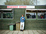 Shane Anderson helps out at the rustic Midway Stop cafe, just off the east bound A14 on the Haughley New Road on the 19th October 2009 in Haughley in the United Kingdom.
