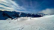 Skiing at La Mongie ski resort,  Bagnères-de-Bigorre, France.