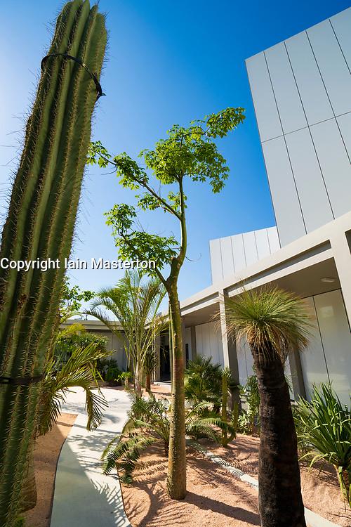 View of outdoor garden at new Jameel Arts Centre in Dubai, UAE, United Arab Emirates