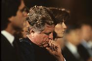 Washington, DC 1983/11/22  Senate Edward Kennedy and Caroline Kennedy at a memorial service for President John F. Kennedy in November 1983.<br /><br />Photograph by Dennis Brack bb23