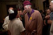 PHILIP SALLON; JOE CORRE,  Philip Sallon's mass paranoia swine flu birthday party. DRESS: DISEASE RELATED OR SWINE, Home House. Portman Sq. London. 13 November 2009.