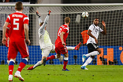 November 16, 2018 - Leipzig, Germany - Jonathan Tah (R) and Manuel Neuer of Germany defend as Yury Gazinsky (C) of Russia shoots on goal during the international friendly match between Germany and Russia on November 15, 2018 at Red Bull Arena in Leipzig, Germany. (Credit Image: © Mike Kireev/NurPhoto via ZUMA Press)