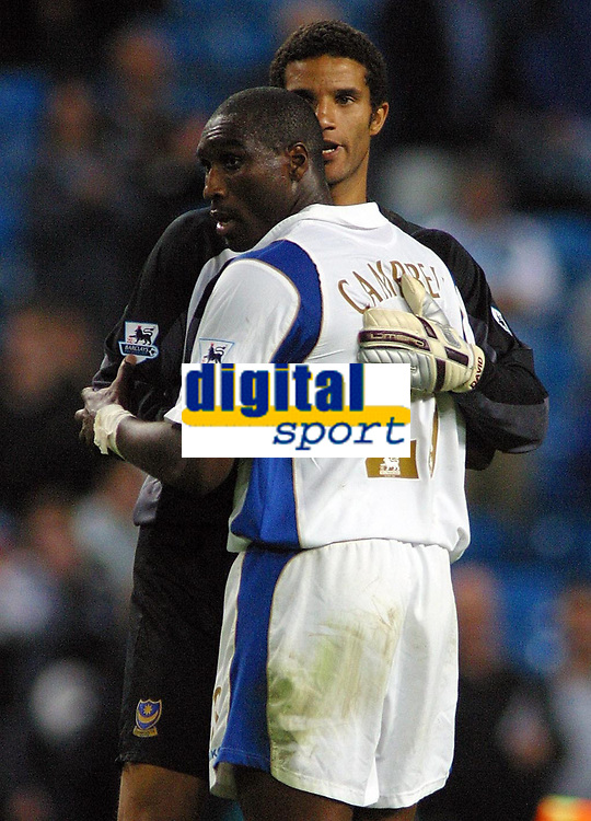 Photo: Paul Thomas.<br /> Manchester City v Portsmouth. The Barclays Premiership. 23/08/2006.<br /> <br /> Portsmouth new players Sol Campbell (L) and David James congratulate each other after their clean sheet in defence.