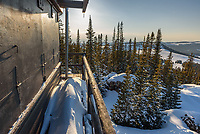 The High Park Lookout is 1 of 3 fire lookout towers in the Bighorn Mountains. I snowshoed up here to watch the sunset and the rise of the full moon.