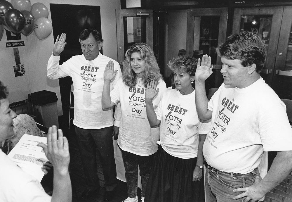©1992 Deputy voter registrars being sworn into office, Austin, Texas.