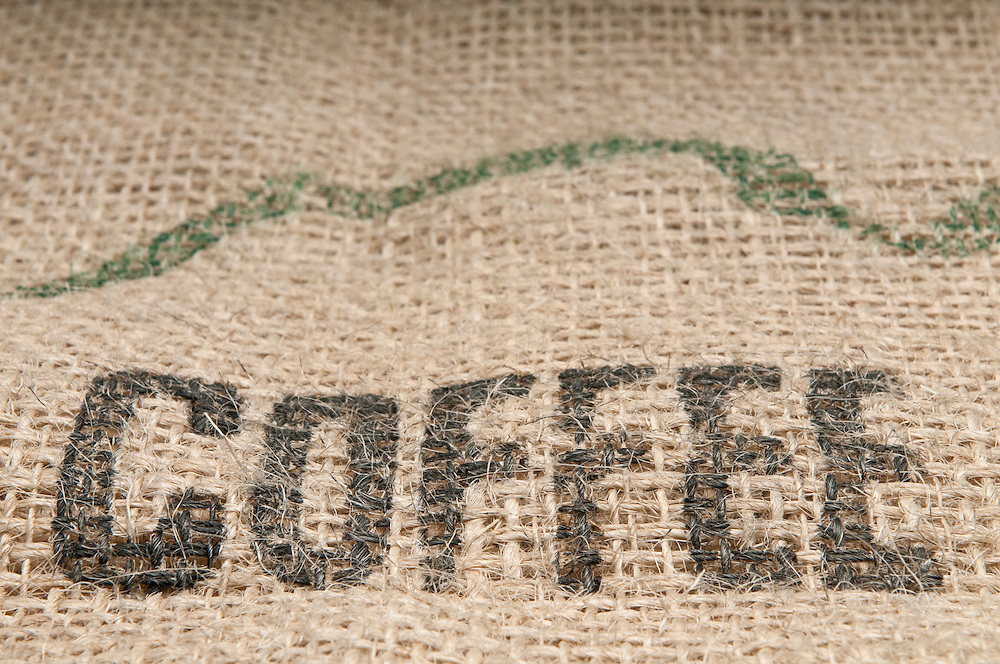 Burlap sack of coffee to use as background with space for copy.