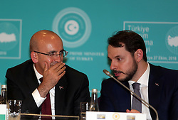 Turkish Deputy Prime Minister Mehmet Simsek (L) and Energy Minister Berat Albayrak (R) attend a pres conference following the 9th Investment Advisory Council Meeting at Dolmabahce Prime Ministry Office in Istanbul, Turkey on October 27, 2016. Photo by Depo Photos/ABACAPRESS.COM
