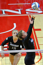 23 November 2017:  Rachel Griffin sets the ball infront of Laura Gross during a college women's volleyball match between the Drake Bulldogs and the Indiana State Sycamores in the Missouri Valley Conference Tournament at Redbird Arena in Normal IL (Photo by Alan Look)