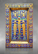 Medieval enamelled panel depicting the Crucifixion, end of 12th cent from Limoges, enamel on gold. AD. Inv OA 7285, The Louvre Museum, Paris. .<br /> <br /> If you prefer you can also buy from our ALAMY PHOTO LIBRARY Collection visit : https://www.alamy.com/portfolio/paul-williams-funkystock/limoges-enamel-antiquities.html Type - louvre - into the LOWER SEARCH WITHIN GALLERY box. <br /> <br /> Visit our MEDIEVAL ART PHOTO COLLECTIONS for more photos to download or buy as prints https://funkystock.photoshelter.com/gallery-collection/Medieval-Gothic-Art-Antiquities-Historic-Sites-Pictures-Images-of/C0000gZ8POl_DCqE