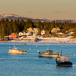 Winter in Bass Harbor, as seen from the Bernard town pier, on Maine's Mount Desert Island.