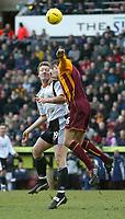 Photo. Andrew Unwin.<br /> Bradford City v Luton Town, Coca-Cola League 1, Bradford and Bingley Stadium, Bradford 19/02/2005.<br /> Bradford's Mark Bower (R) competes for the ball with Luton's Steve Howard (L).