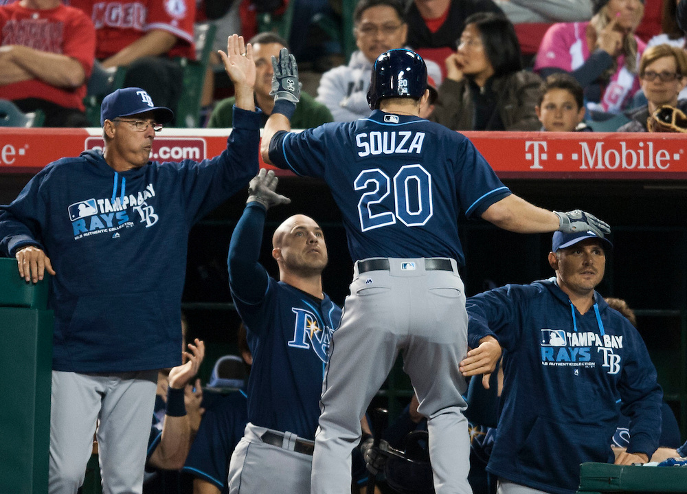 The Rays' Steven Souza Jr. is greeting in the dugout after his two run home run in the sixth inning against the Angels Saturday at Angel Stadium.<br /> <br /> ///ADDITIONAL INFO:   <br /> <br /> angels.0508.kjs  ---  Photo by KEVIN SULLIVAN / Orange County Register  --  5/7/16<br /> <br /> The Los Angeles Angels take on the Tampa Bay Rays at Angel Stadium Saturday.<br /> <br />  5/7/16