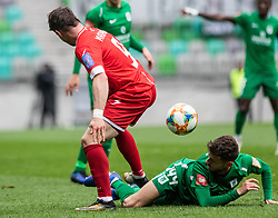 Matjasic Jure of NK  Aluminij vs Suljic Asmir of NK Olimpija Ljubljana during football match between NK Olimpija Ljubljana and NK Aluminij in Round #27 of Prva liga Telekom Slovenije 2018/19, on April 14th, 2019 in Stadium Stozice, Slovenia Photo by Matic Ritonja / Sportida
