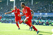 Danny Ings of Liverpool celebrates after scoring his teams 1st goal. Barclays Premier League match, Everton v Liverpool at Goodison Park in Liverpool on Sunday 4th October 2015.<br /> pic by Chris Stading, Andrew Orchard sports photography.