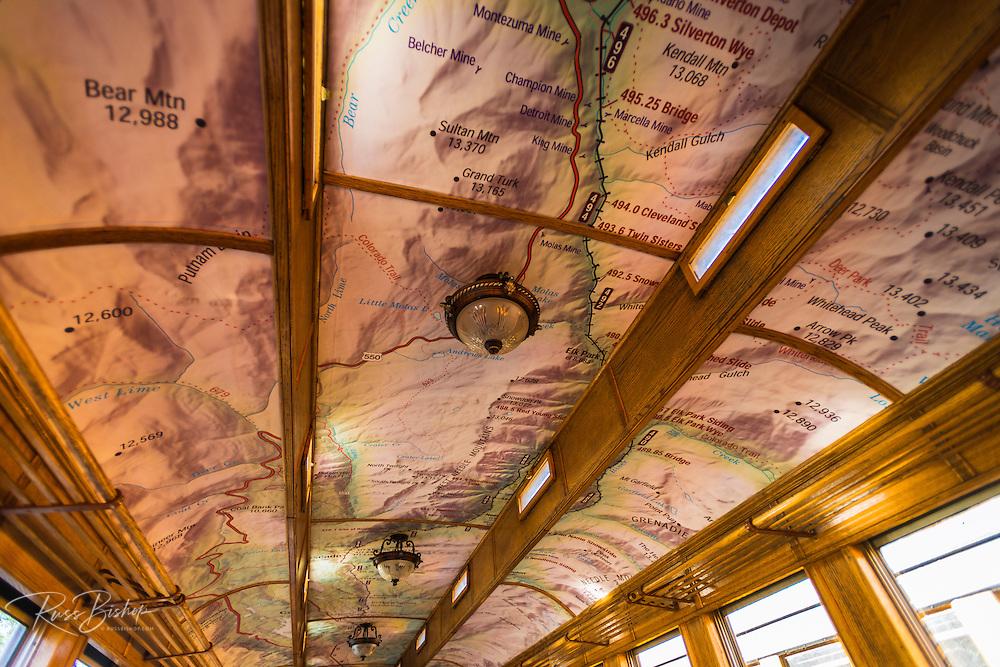 Map on the ceiling of a passenger car, Durango & Silverton Narrow Gauge Railroad, Durango, Colorado USA
