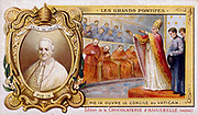 PIUS IX (Giovanni Maria Mastai Ferretti - 1792-1878) Pope from 1846. Opening the First Vatican Council 1869. Portrait inset. Late 19th century chromolithograph
