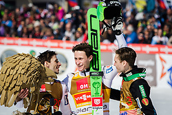 Robert Kranjec (SLO), Peter Prevc (SLO) and Anze Lanisek (SLO) during the Ski Flying Hill Team Competition at Day 4 of FIS Ski Jumping World Cup Final 2016, on March 20, 2016 in Planica, Slovenia. Photo by Ziga Zupan / Sportida