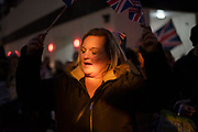 A leave supporter celebrates in Whitehall, London, United Kingdom on 31st January, 2020. The United Kingdom formally leaves the European Union at 23:00 GMT today.
