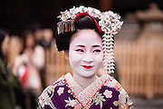 Maiko and geiko in the Gion district of Kyoto, Japan