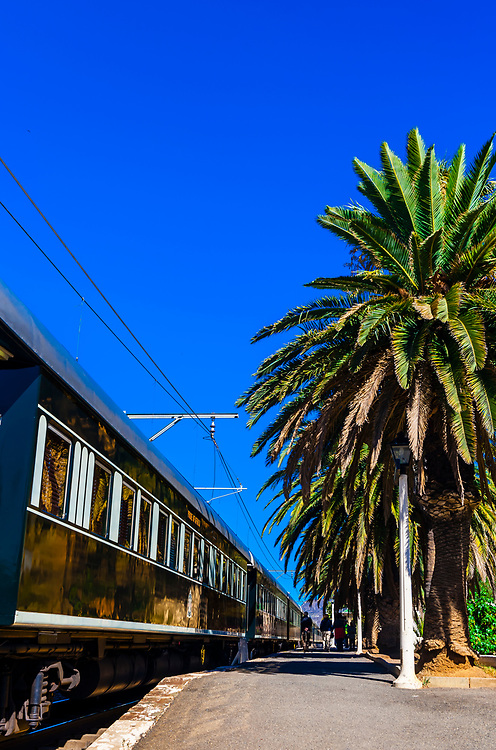 """Rovos Rail train  """"Pride of Africa"""" at the train station at Matjiesfontein on it's journey between Pretoria and Cape Town, South Africa."""