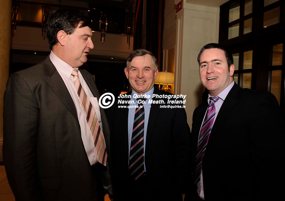 15-01-2010. Meath Chronicle/Cusack Hotel Group Sports Personalty of the Year awards 2009 presentations at the Knightsbrook Hotel, Trim.<br /> L to R: Alan McEntee, Francis Lynch and Damien English, T.D.<br /> Photo: John Quirke / www.quirke.ie<br /> ©John Quirke Photography, Unit 17, Blackcastle Shopping Cte. Navan. Co. Meath. 046-9079044 / 087-2579454.