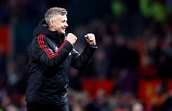 Manchester United interim manager Ole Gunnar Solskjaer celebrates the win after the Premier League match at Old Trafford, Manchester.