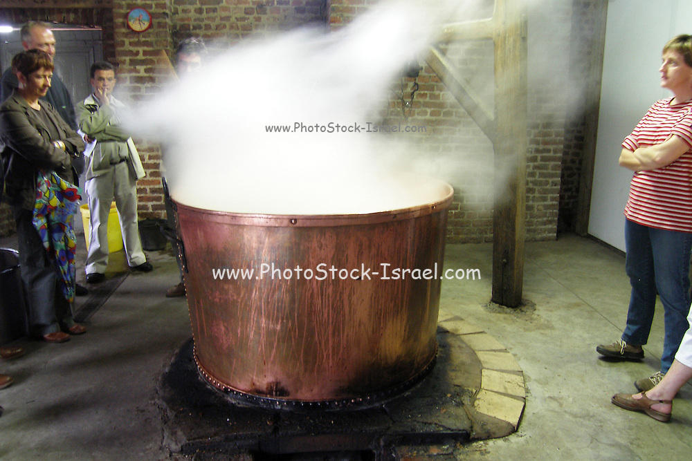 Belgium, tourists watching the Traditional Production of Molasses in a large copper vat