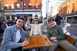 © Licensed to London News Pictures. 24/04/2021. Manchester, UK. Revellers make the most of the weekend in Manchester city centre.  Photo credit:  Ioannis Alexopoulos/LNP