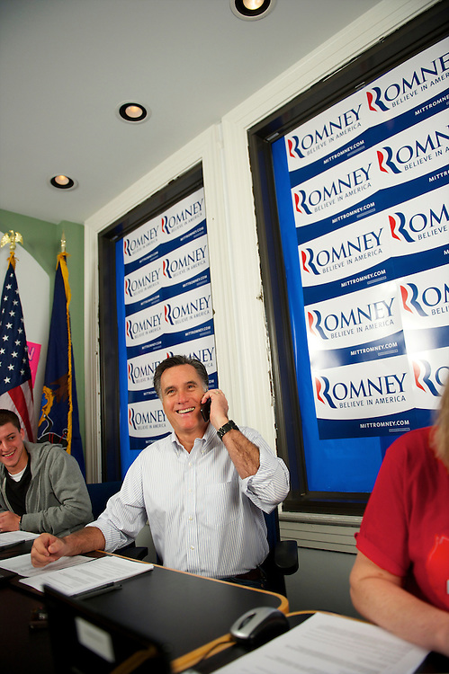 Republican Presidential candidate Mitt Romney visits the Pennsylvania campaign headquarters in Harrisburgh.  He phoned prospective voters along with 4 volunteers from nearby Mechanicsburgh.
